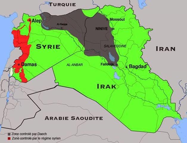 Etat islamique - carte 21 aout 2014