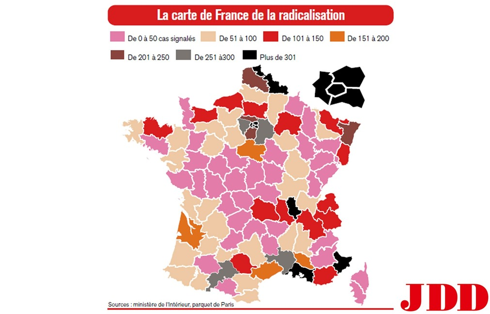 JDD Carte des radicalisations 2016
