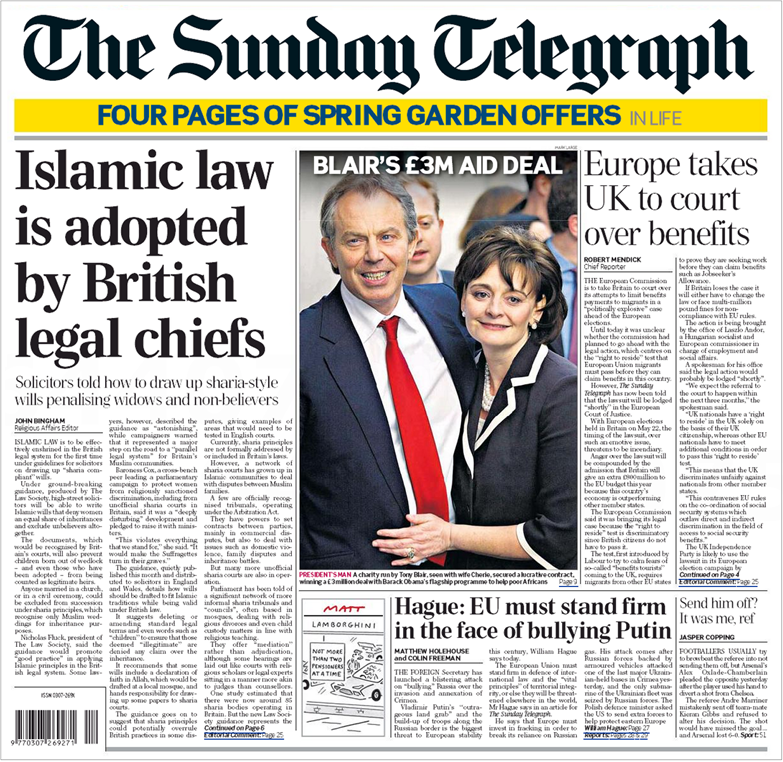 Sunday-Telegraph-Islamic-law-front-page