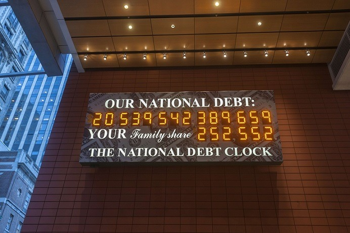 The National Debt Clock in New York returns